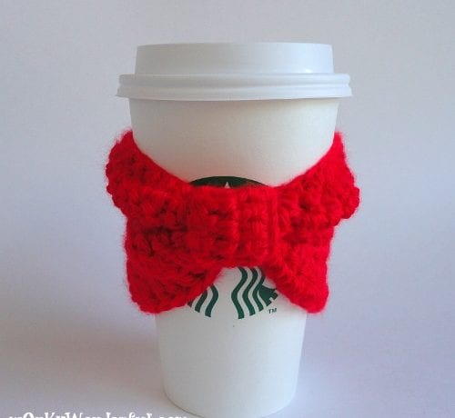 Red Bow Cup Cozy (Free Crochet Pattern)
