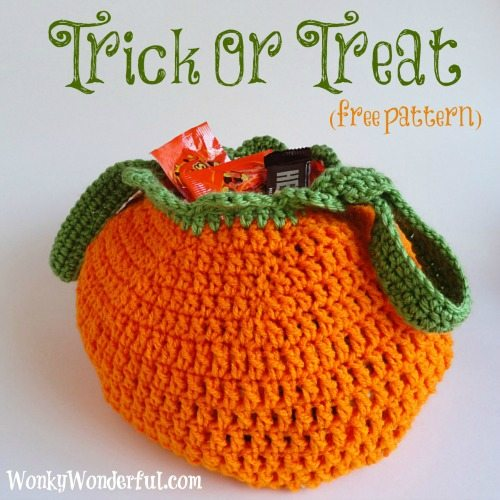 Free Crochet Patterns For Halloween : Trick Or Treat Bag (free crochet pattern) - WonkyWonderful