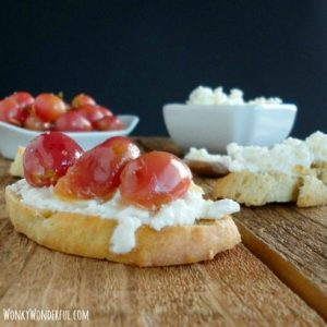 Crostini with Fresh Ricotta and Roasted Grapes