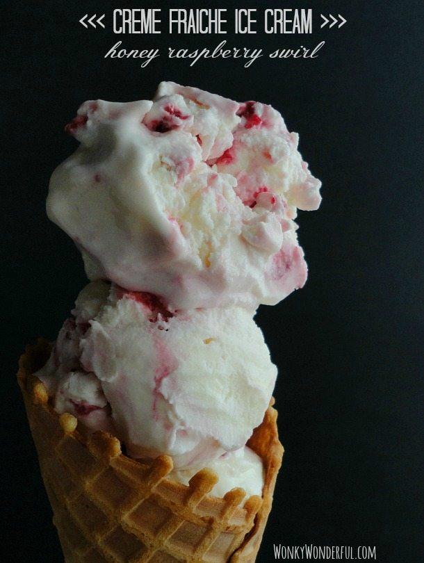 Creme Fraiche Ice Cream Recipe with Raspberry Honey Swirl - Homemade Ice Cream - wonkywonderful.com