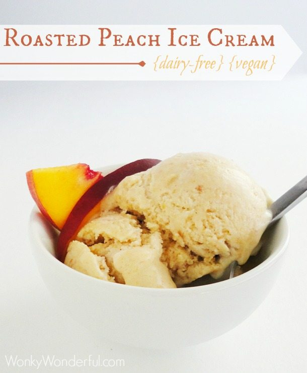Roasted Peach Vegan Ice Cream {dairy-free vegan} ::: wonkywonderful.com