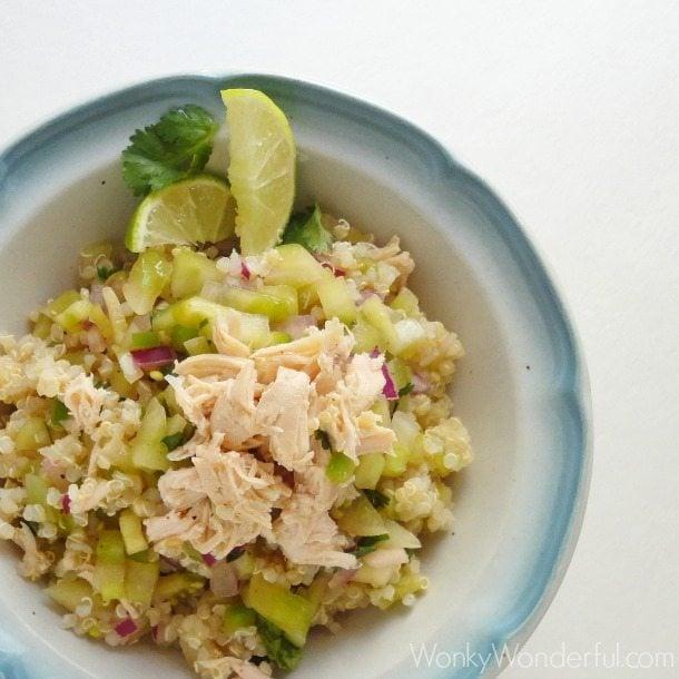 Healthy Chicken & Salsa Verde Quinoa Bowl