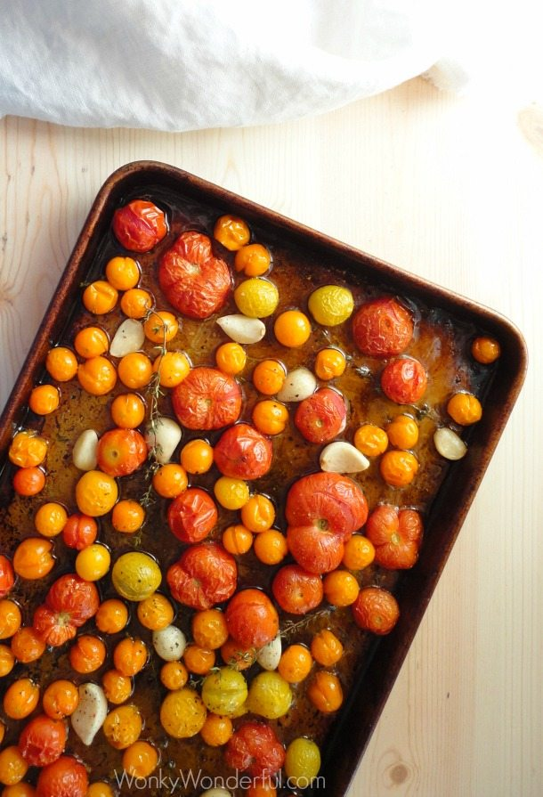Garlic Thyme Roasted Tomatoes ::: wonkywonderful.com