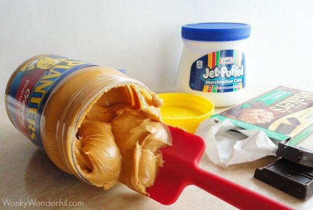 Fluffernutter Fudge - Chocolate Marshmallow Peanut Butter Microwave Fudge Recipe - wonkywonderful.com #shop