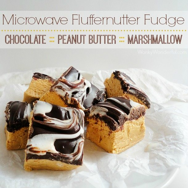 Fluffernutter Fudge - Chocolate Marshmallow Peanut Butter Microwave Fudge Recipe - wonkywonderful.com #KraftEssentials #shop