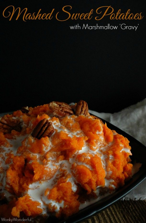 Mashed Sweet Potato Casserole Recipe - Mashed Sweet Potatoes with Marshmallow Gravy - wonkywonderful.com #thanksgiving
