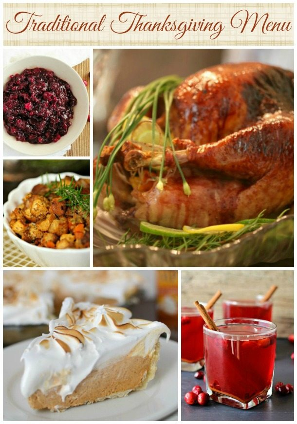 Traditional Thanksgiving Menu Ideas - turkey stuffing cranberry sauce pie - wonkywonderful.com