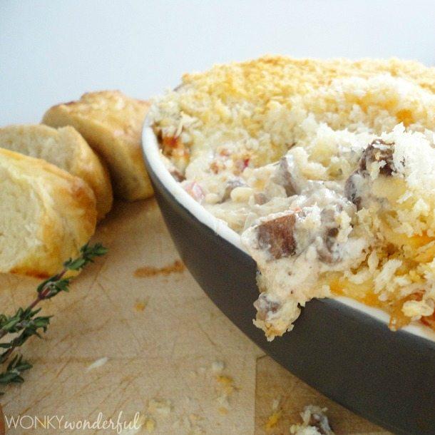 Stuffed Mushroom Cheesy Dip Recipe - wonkywonderful.com #appetizer #ad #KraftHolidaySavings
