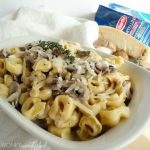 Tortellini with Mushroom & Garlic Cream Sauce Recipe - wonkywonderful.com