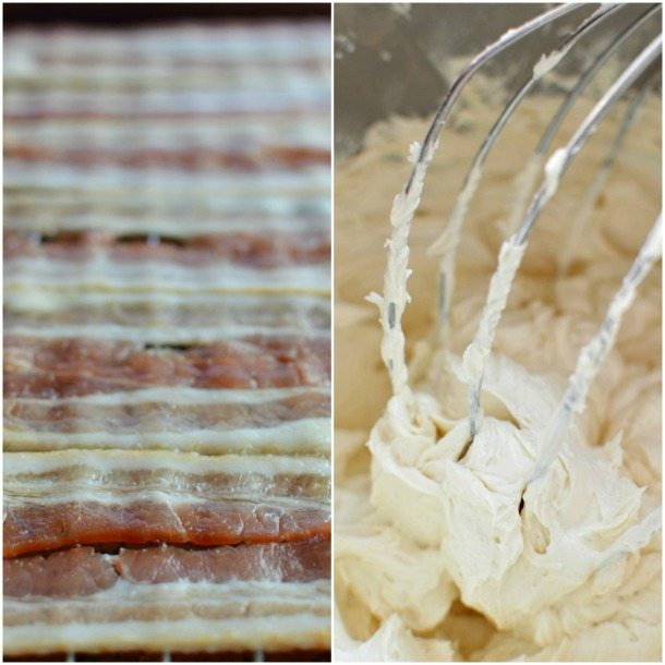 Bourbon Cupcake Recipe with Maple Buttercream and Bourbon Maple Glazed Bacon - Game Day Dessert for Men - wonkywonderful.com