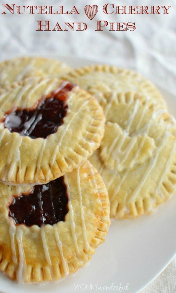 Nutella and Cherry Hand Pies - Valentine's Day Dessert Recipe - Heart Pie - wonkywonderful.com