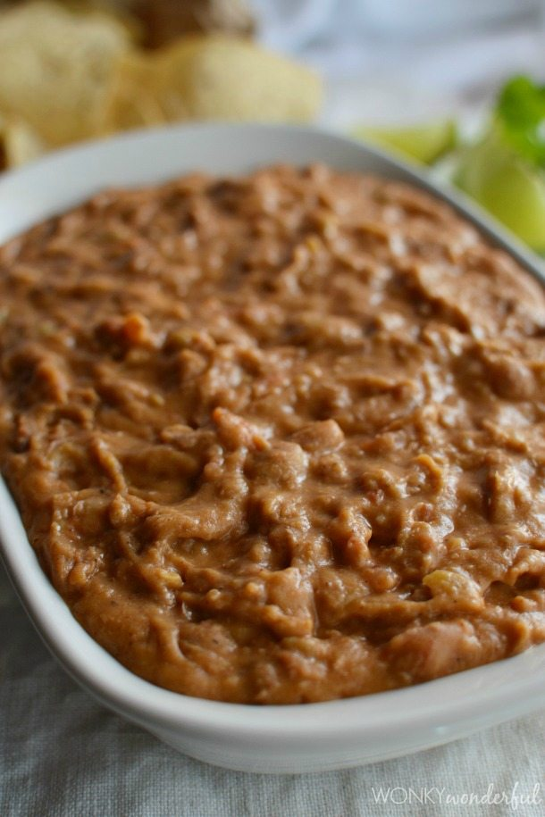 Homemade Bean Dip Recipe - Green Chilis - Pinto Beans - Appetizer - wonkywonderful.com