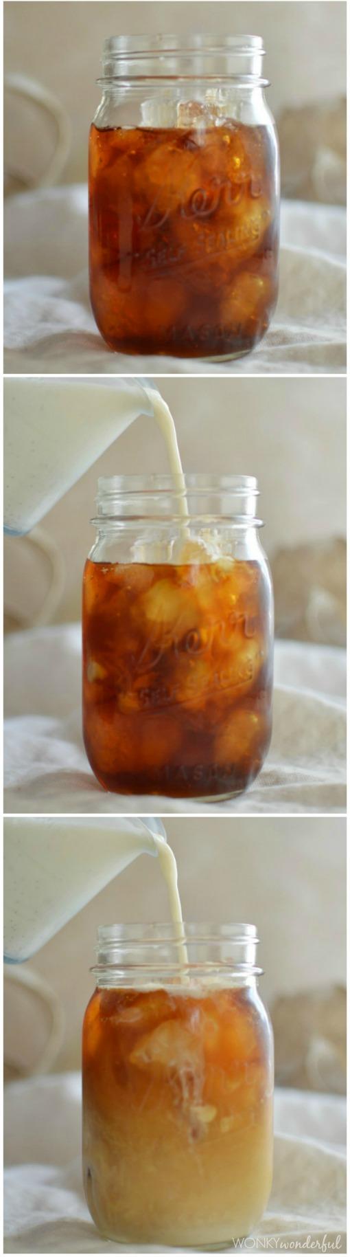 Cold Brewed Iced Coffee with Vanilla Cardamom Homemade Coffee Creamer - wonkywonderful.com