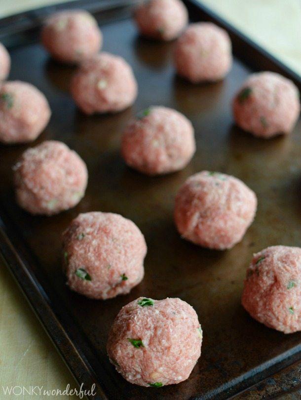 Meatball Recipe with Roasted Garlic and Chimichurri Sauce - wonkywonderful.com
