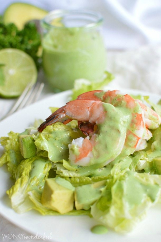 Shrimp Salad with Avocado and Homemade Creamy Parsley Cilantro Dressing - healthy recipe