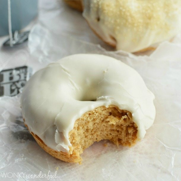 English Teatime Baked Donuts with Cream & Sugar Glaze - Perfect Tea Party Treat #AmericasTea - wonkywonderful.com