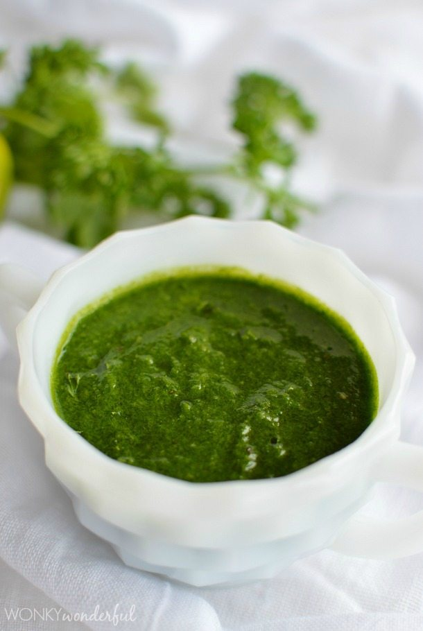 Chimichurri Recipe - Parsley - Cilantro - Garlic - Marinade - Dip - Sauce - wonkywonderful.com