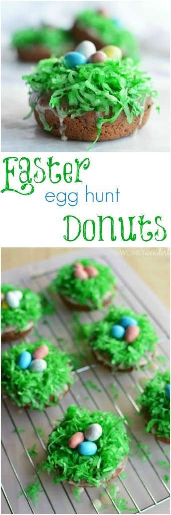 Easter Egg Baked Donuts Recipe. These easy doughnuts are the perfect Easter breakfast. The kids will love them! Chocolate donuts with coconut and Robin's Eggs on top.