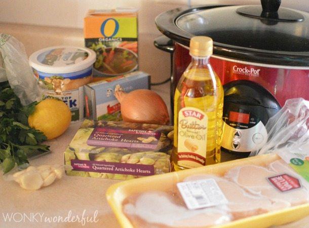 Crock Pot Chicken Recipe - Creamy Chicken and Artichoke Slow Cooker Recipe - wonkywonderful.com