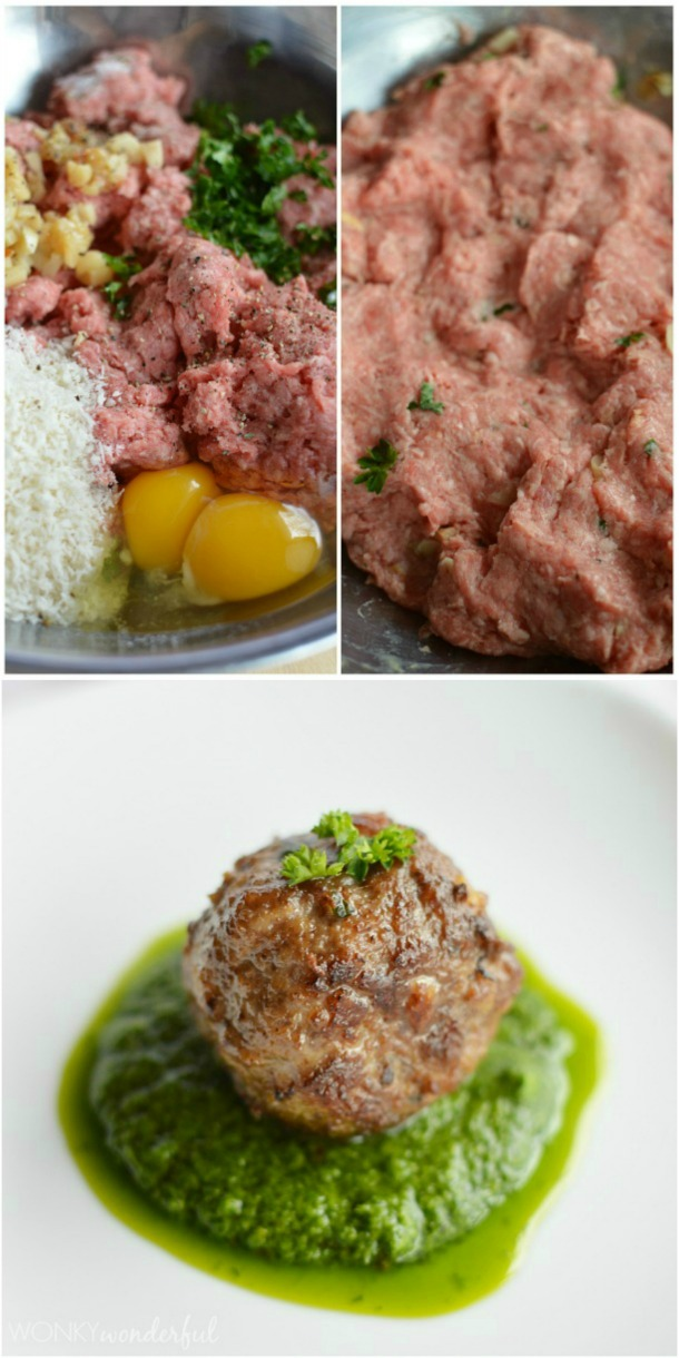 Meatball Recipe with Roasted Garlic and Chimichurri Sauce - wonkywonderful.com
