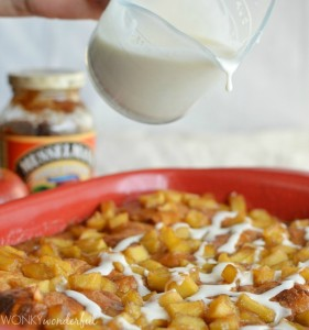 Glazed Apple Fritter Bake made with Musselman's Apple Butter, Croissants and Apples. Great Brunch Recipe! wonkywonderful.com
