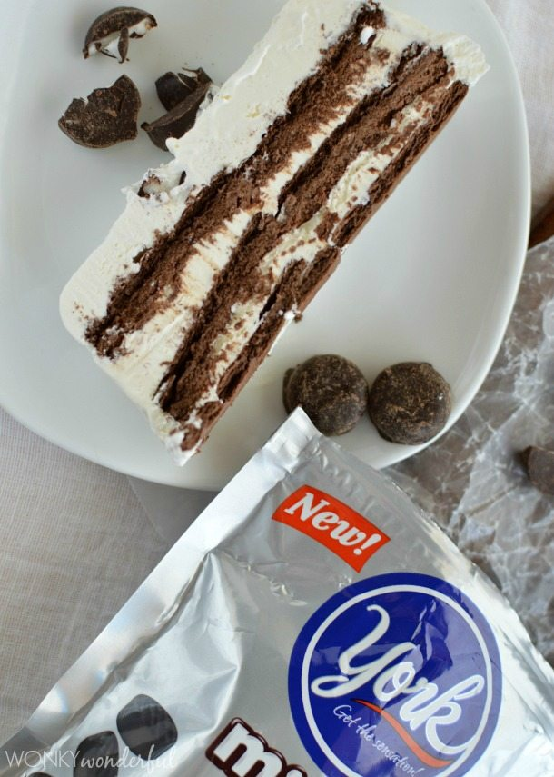 Chocolate and Cream Icebox Cake with York Minis : Easy No-Bake Summer Dessert Recipe : zebra cake : ripple cake