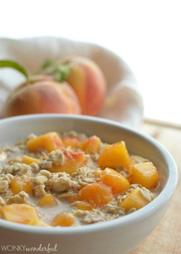 Peaches and Cream No-Cook Oatmeal : Dairy Free : Vegan : Healthy Breakfast Recipe