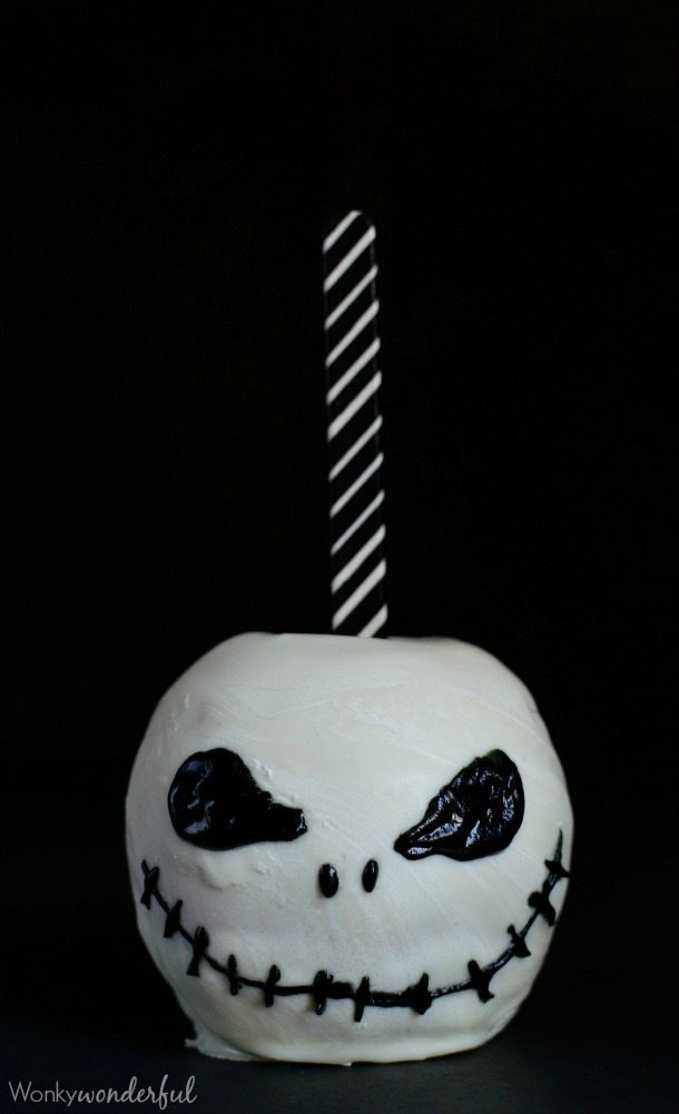 jack skellington chocolate covered apples are an easy and impressive halloween treat these are a great alternative to a plain candy apples recipe - Easy Halloween Candy Recipes