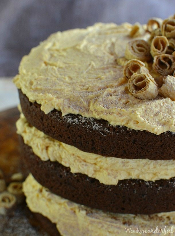Chocolate Cake with Pumpkin Buttercream Frosting | Wonky Wonderful