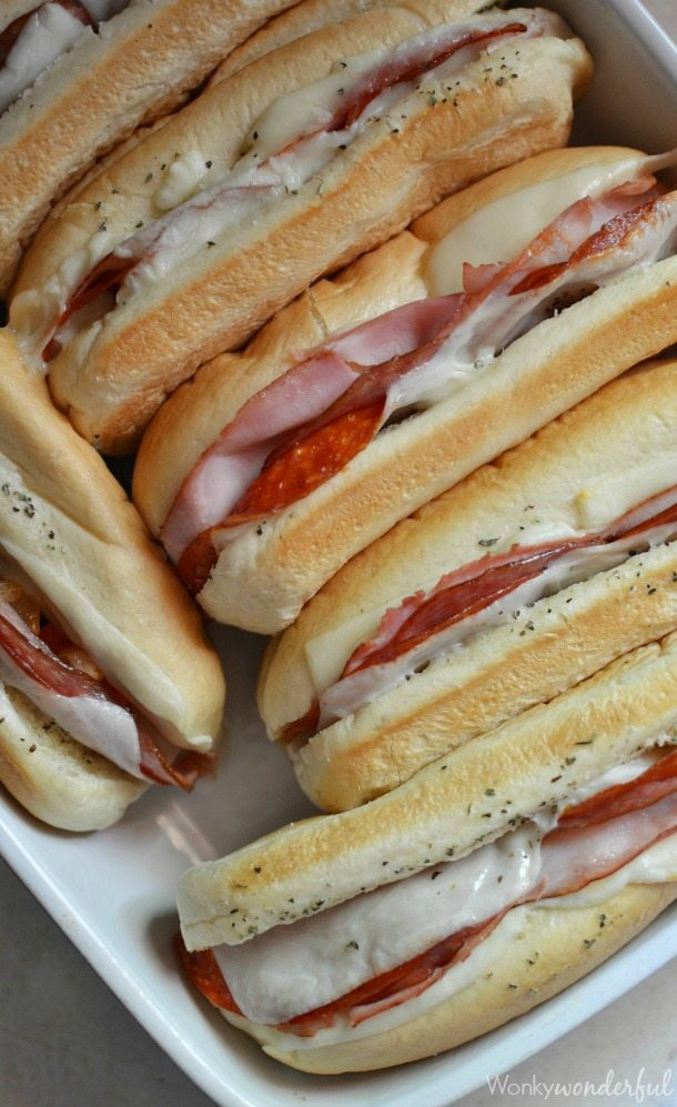 Hot Italian Sandwiches Baked In The Oven Meaty Cheesy Sub Great For Feeding