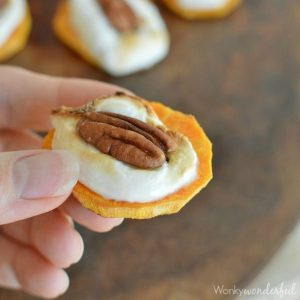 Sweet Potato Casserole Bites - This Thanksgiving appetizer has all the flavor of sweet potato casserole in one bite! Only 3 Ingredients!