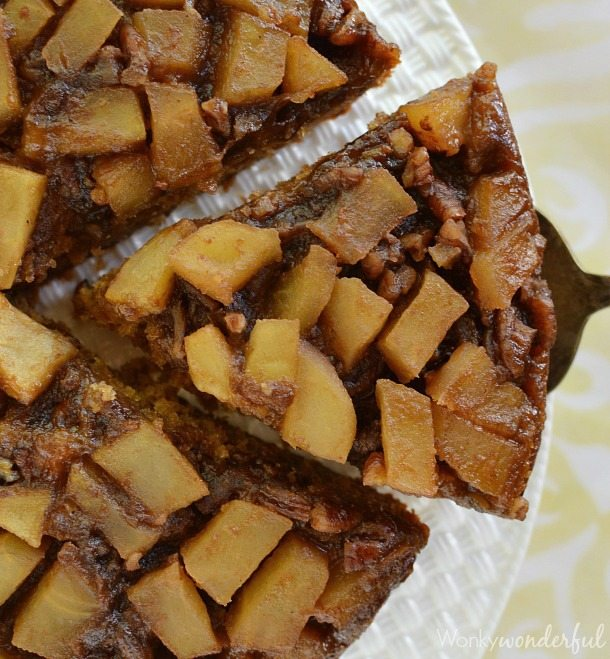 Apple Upside Down Cake Recipe - This dessert cake is made with apple butter. With a caramel like topping of fresh apples and pecans.