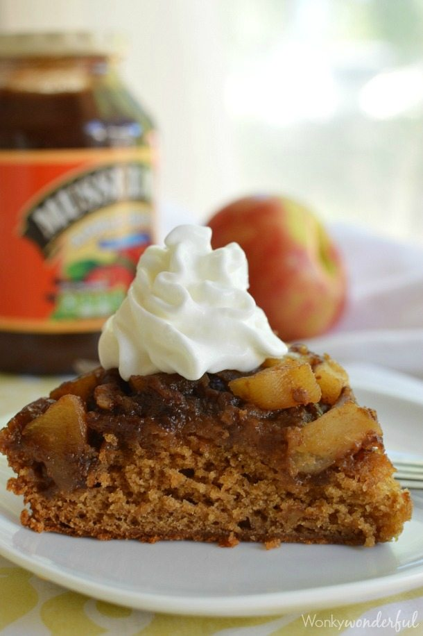Upside Down Apple Cake Recipe - This dessert cake is made with apple butter. With a caramel like topping of fresh apples and pecans.