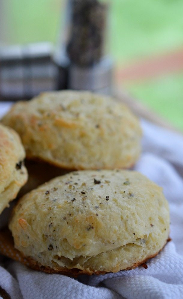 Parmesan and Pepper Biscuit Recipe with Butter - These Homemade Biscuits are extra buttery and flavored with fresh parmesan cheese and pepper! Quick and Easy!