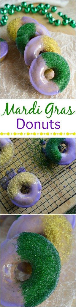 Baked Cinnamon Doughnuts decorated like a Mardi Gras King Cake! Make these cake donuts for a fun breakfast! Dairy Free Recipe