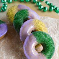 Mardi Gras Baked Cinnamon Doughnuts