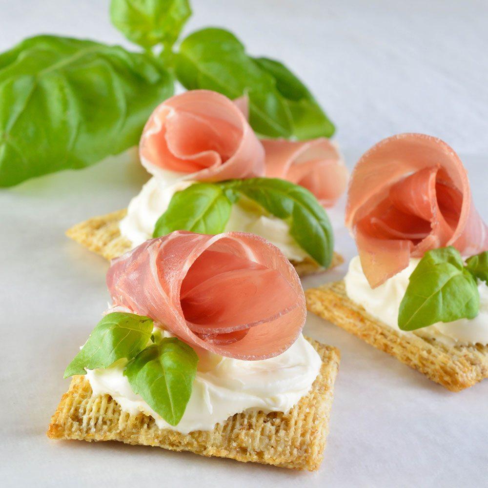 Easy Snack Recipe with Prosciutto Basil and Mascarpone