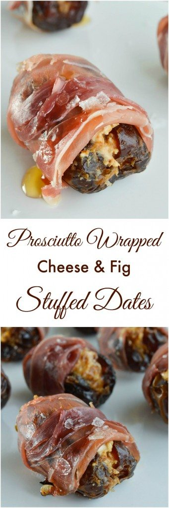 Prosciutto Wrapped Dates Stuffed with Goat Cheese and Fig Butter make the perfect hors d'oeuvres. Serve with a drizzle of honey and sprinkle of salt for the ultimate salty sweet appetizer recipe!