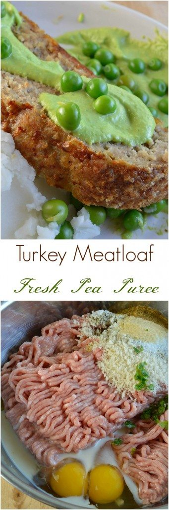 This Easy Turkey Meatloaf Recipe is a healthy way to enjoy that family favorite comfort food! Meatloaf made with ground turkey and served with a fresh English pea puree. A flavorful, nutritious and dairy free dinner recipe!