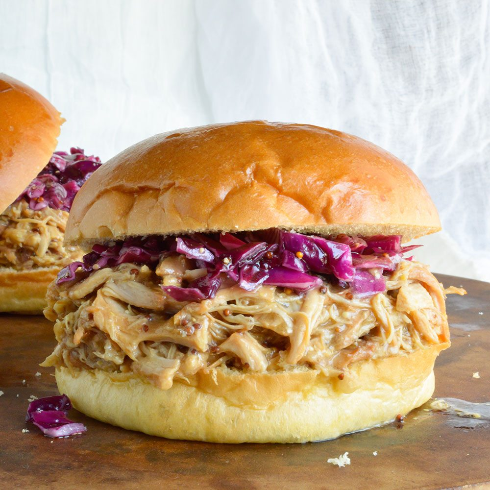 Slow Cooker Honey Mustard Shredded Chicken Sandwich Recipe