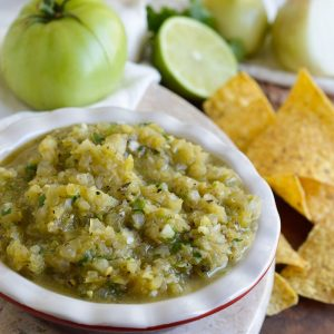 Grilled Green Tomato Salsa Recipe (Whole30, Paleo, Vegan)