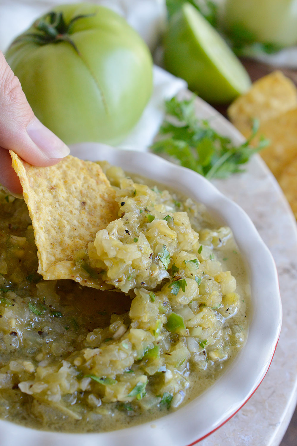 This Grilled Green Tomato Salsa Recipe is perfect for using up those green tomatoes! An easy green salsa verde with a smoky grilled flavor. The perfect summertime appetizer! Whole30, Paleo, Vegan #whole30recipes #paleorecipes #veganrecipes