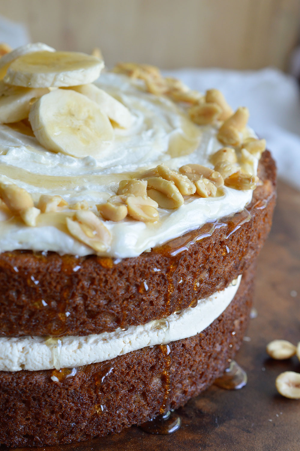 Peanut Butter Honey and Banana Layer Cake