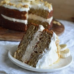 Banana Layer Cake with Peanut Butter and Honey Frosting