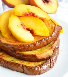 Oven Baked French Toast with Fresh Peaches