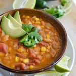 This One-Pot White Bean Vegan Chili Recipe is great for Meatless Monday or as a meat free game day option. All the flavor of a thick chili without any meat!