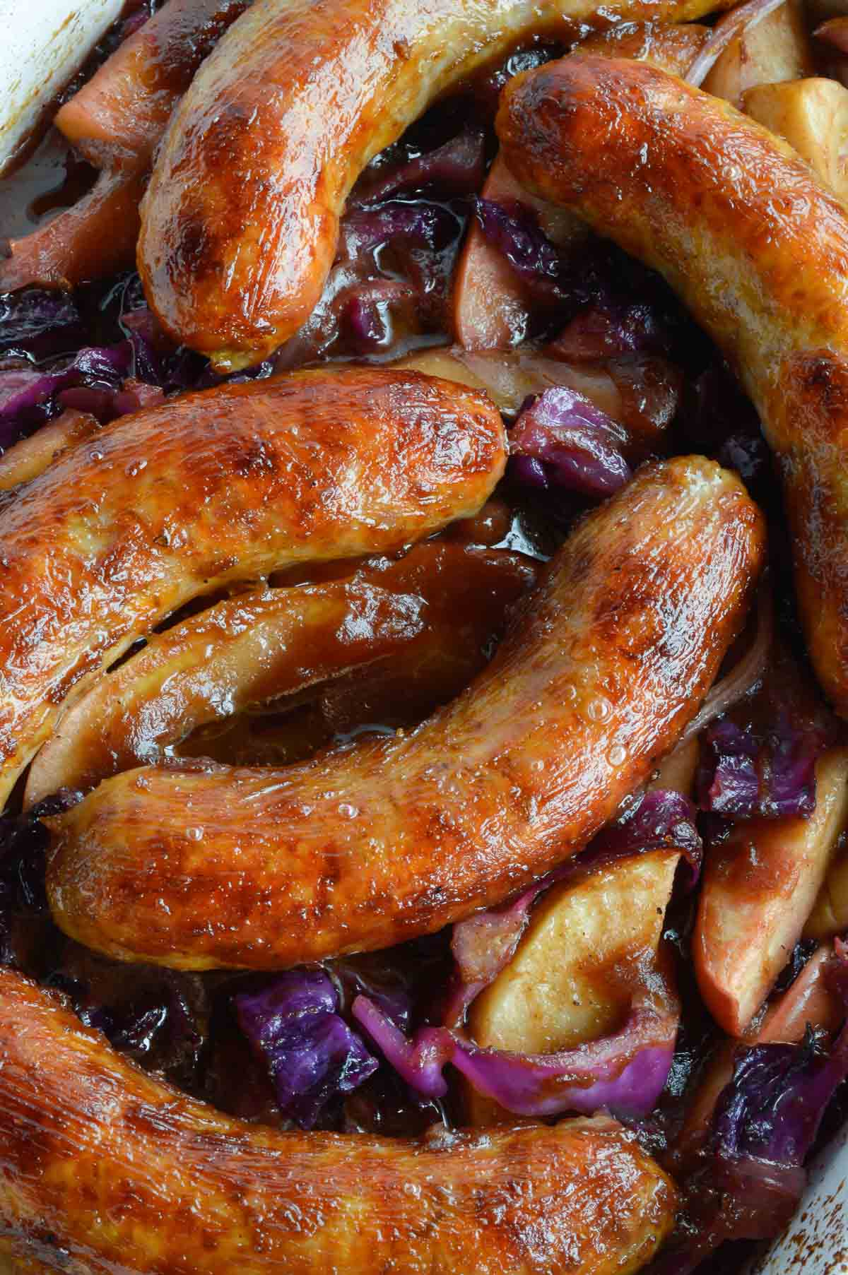 This Baked Sausage with Apples and Cabbage is a nutritious, hearty and delicious dinner recipe. A one pot meal that is beyond easy to make!