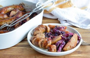 Baked Sausage with Apples and Cabbage