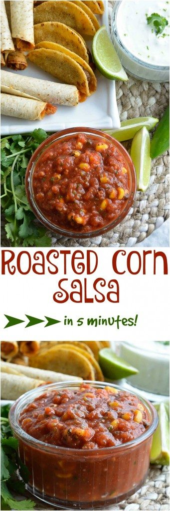 This Homemade Easy Roasted Corn Salsa comes together in 5 minutes! A restaraunt style salsa recipe made in your blender.