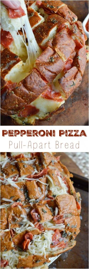 Perfect for any game day party, this Pull Apart Pizza Bread Recipe is super easy! Soft Hawaiian bread stuffed with pepperoni and cheese makes a fantastic appetizer!